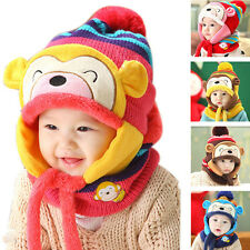 New 1Pc Winter Boys Girls Toddler Hats Scarf Set Monkey Warm Cap for Kids Child