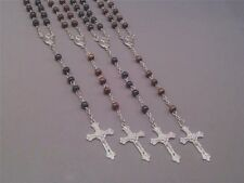 Rosary Necklace Wood Bead Silver Chain Crucifix St Theresa Center BLACK BROWN
