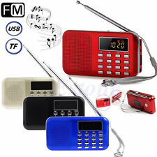 Mini Portable LCD Digital FM Radio Speaker USB SD TF Card Mp3 Music Player+Light
