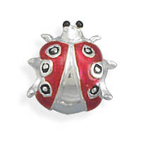 Sterling Silver Red and Black Enamel Lady Bug Bead Bead Is 12mm Charm