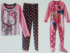 Girls Disney's Minnie Mouse footed pajamas PINK 6 8 HELLO KITTY Set 10