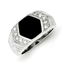 Sterling Silver Mens CZ and Onyx Ring - Ring Size: 9 to 11