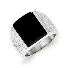 Sterling Silver Onyx Mens Ring - Ring Size: 9 to 11