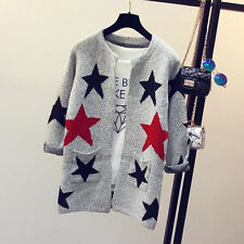 Fashion Star Pattern Cardigans Female Sweaters Long Sleeve Knitted Slim Sweater