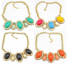 New European Style Golden Metal Clear Rhinestone Resin Gem Drop Choker Necklace