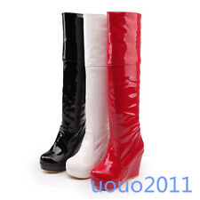 Sexy Womens Ladies High Wedge Heel Patent Leather Platform Knee High Boots Shoes