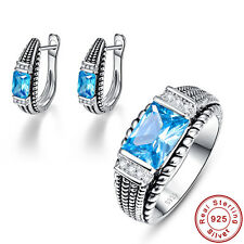 Free Jewelry Box Swiss Blue Topaz Ring+Earrings 925 Sterling Silver Jewelry Sets