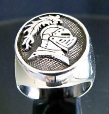STERLING SILVER SIGNET RING KNIGHT'S HELMET SEAL COAT OF ARMS MEDIEVAL ANY SIZE