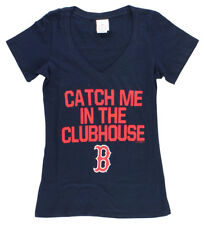5TH & OCEAN Womens Boston Red Sox Catch Me in Clubhouse T Shirt Navy Blue