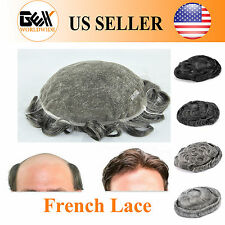 GEX Toupee Mens Hairpiece FRENCH LACE Basement Wig Black With Gray Human Hair