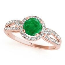 1.15 Ct. Halo Emerald And Diamond Engagement Ring In 14k Gold