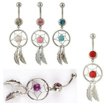 New Dream Catcher Wings Crystal Dangle Button Belly Navel Ring Bar Body Piercing