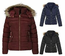 Womens Fur Detachable Hood Puffer Padded Quilted Thick Winter Coat Jacket