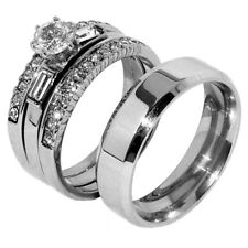 His Hers 4 PCS Womens Brilliant CZ Stainless Steel 2 Rings Set /Mens Flat Band