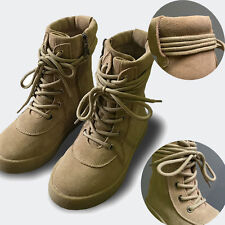 Boys Girls Kids Genuine Leather High Top Zip Strappy Hiking Winter Combat Boots
