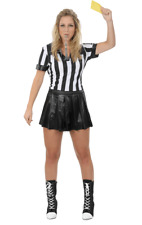 Ladies Sexy Football Referee Sports Fancy Dress Costume Womens