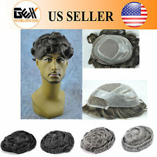 GEX Fine Mono+Poly Base Mens HairPiece Wig Toupee Black With Gray Versalite