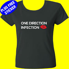 ONE DIRECTION T-SHIRT TEE – INFECTION – RED GLITTER – KIDS/TEENS/LADIES & UNISEX