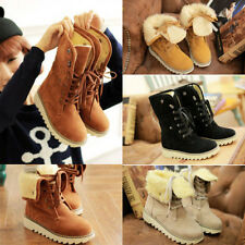 Fashion Womens Ankle Winter Boots Lace Up Shoes Flats Round Toes Warm Heels  SSS
