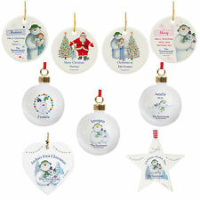 Personalised Snowman & the Snowdog Bauble, Ceramic, Wooden Christmas Decorations