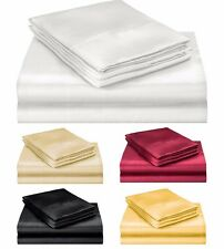 ELEGANTE COLLECTION ULTRA PURE SOFT SILKY SATIN 4PC QUEEN BED SHEET SET 5COLORS