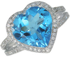 Swiss Blue Topaz Gemstone Heart Sterling Silver Ring