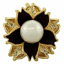 Fashion Alloy Yellow Gold-Tone Simulated Pearl Purple Flower Cocktail Ring