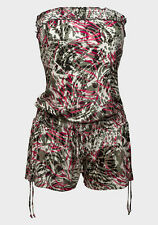 Ladies Patterned Olive Red Mix Detachable Straps Shorts Playsuit Dress Size 6-14