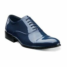 New Stacy Adams Mens Tuxedo Shoes Gala Shinny Navy Blue Patent Leather 24998