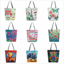 Women Lady Owl Canvas Tote Casual Beach Shopping Travel Bags Handbags Clutch Lot
