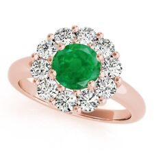 1.90Ct. Halo Emerald And Diamond Engagement Wedding Ring In 10K Solid Rose Gold