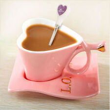 Cute Heart Shaped Ceramic Cup Tea Milk Coffee Mug Spoon Pink White Sets Gift