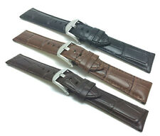 18mm to 24mm, Mens', Crocodile Style, Genuine Leather Watch Band Strap, 3 Colors