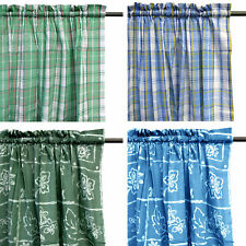 Pair of Polyester Cotton Printed Rod Pocket Unlined Curtains 115 x 213cm