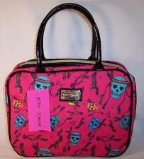 Betsey Johnson Weekender Make-up Bag Feather Skulls Fushia  BRC1770