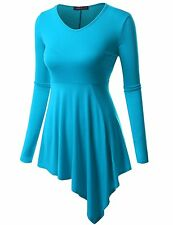 Doublju Womens Long Sleeve Round Neck Casual Comfy Solid Unblance Drape Dresses