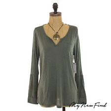 GENTLE FAWN MODCLOTH ARMY GREEN V-NECK COLLARED LONG SLEEVE TOP S M L R2 B15