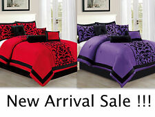8 PC Comforter Set Over Sized Bed in a Bag Flocking Design New Arrival Sale !!!
