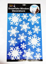 Snowflake Window Sticker White Silver Gem Christmas Glass Decoration Cling Decal