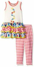 JELLY THE PUG Girls Floating Feathers Tiered Dress Legging Set Size 6 10 Outfit