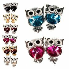 Vintage Crystal Cute Mini Owl Rhinestone Ear Stud Earrings Jewellery Womens Gift