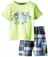 KIDS HEADQUARTERS Baby Boys Dinosaur Graphic Tee Plaid Shorts Set Outfit 12M NWT