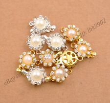 1-10 Sets Crystal Rhinestone Pearl Flower Box Clasp for Bracelets Necklace
