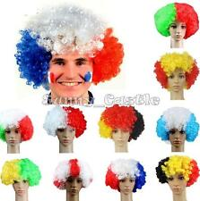 World Cup Football Fans Games Supply Afro Wig Fancy Dress Up Costume Cosplay New