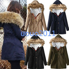 Korean Style Hooded Fur Collar Slim Fit Womens Girls Thicken Cotton Coat Jacket