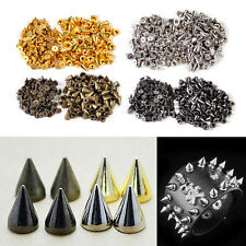 100pcs Metal Punk Rock Cone Bullet Rivets Screw Stud Spot Leathercraft Bag Spike