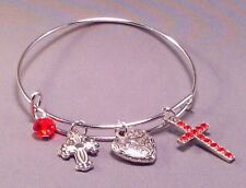 Christian Bangle Adjustable Silver Charms Faceted Accent Bead VARIOUS COLORS!
