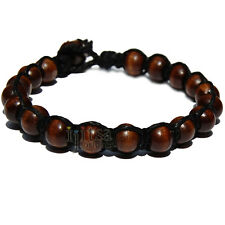 Black flat hemp bracelet/anklet with brown wood beads