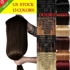 14''-22'' Double Weft 100% Remy Human Hair Extensions Clip in 8pcs 18clips NE014