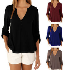 Sexy Deep V Neck Button Slim Waist Long Sleeves Chiffon Blouse Shirt Casual Top